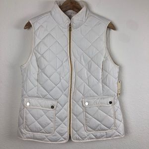 St. John's Bay Ivory Quilted Vest Large NWT